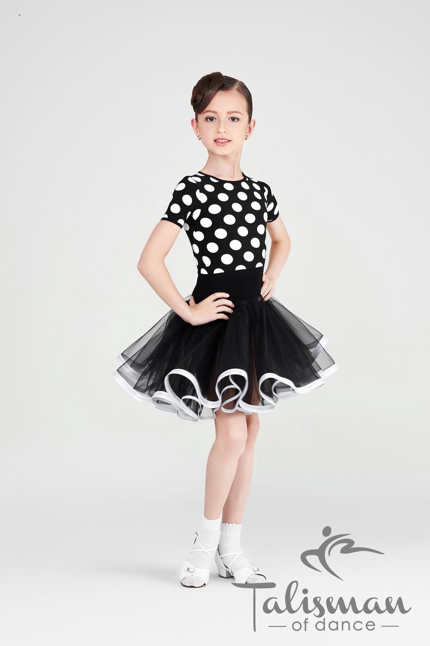 Платье для девочки черное в горошек ПЛ-816