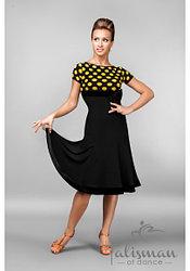 Черное платье женское в горошек ПЛ-765