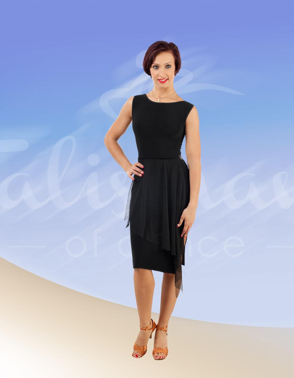 Женское платье для латины черное ПЛ-691
