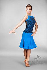 Синее платье для латины ПЛ-758