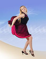 Платье для латины черно-розовое ПЛ-497