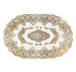 Овальная салфетка с золотым декором 45х30 см, фото 3