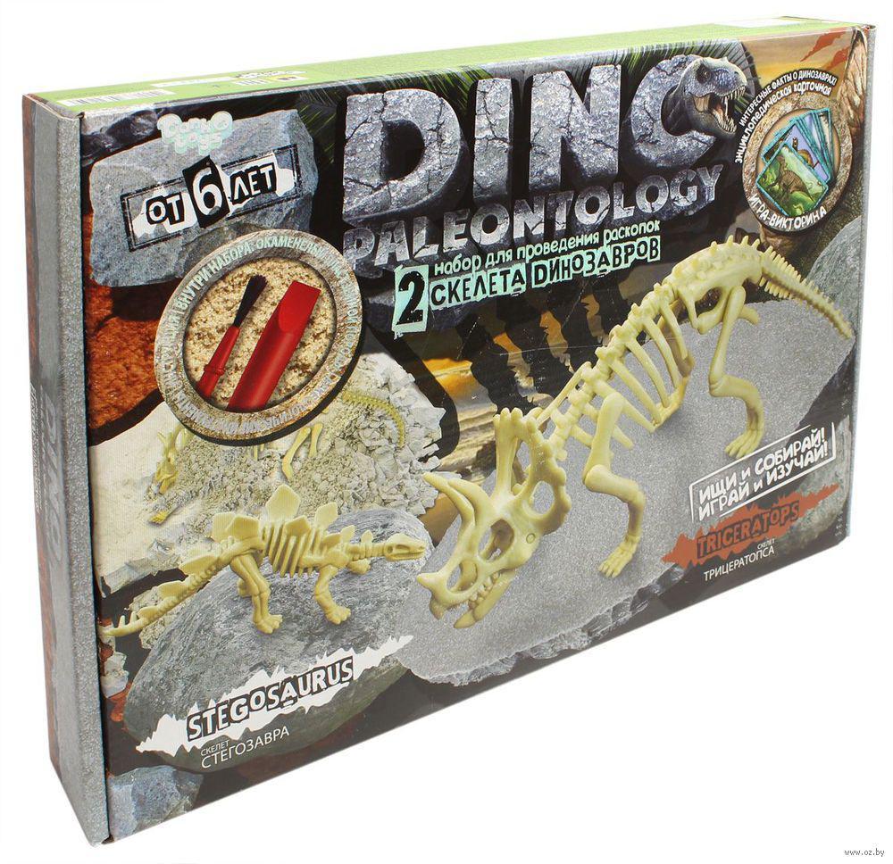 Набор для проведения раскопок DINO PALEONTOLOGY Скелеты Трицератопса - Стегозавра