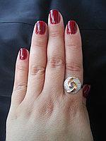 Серебряное кольцо с накладками золота Кристина