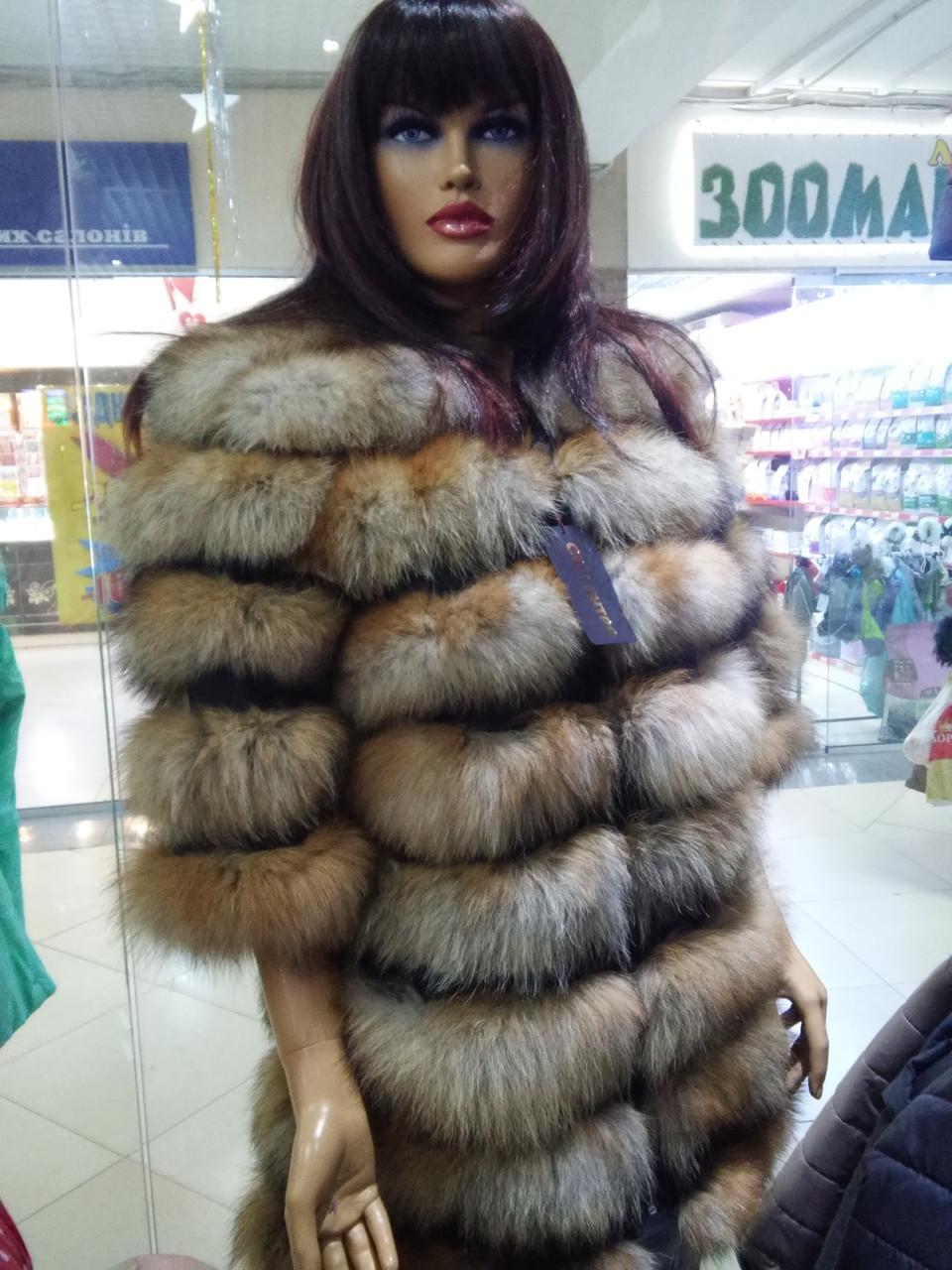 Роскошная женская шуба из лисы с рукавом 3/4 - фото 3