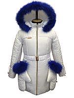 Зимнее пальто для девочки Снегурочка с рукавичками