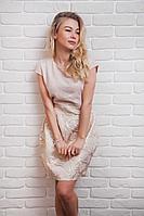 Женское платье жаккардовое золотое