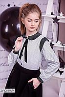Блузка школьная для девочки 3570-3 в горошек