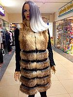 Роскошная жилетка женская из лисички удлиненная
