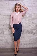 Платье офисное с розовым шифоновым верхом