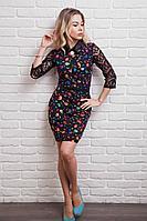 Женское платье в цветную птичку