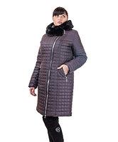 Зимнее пальто женское с мутоном Кубик батал