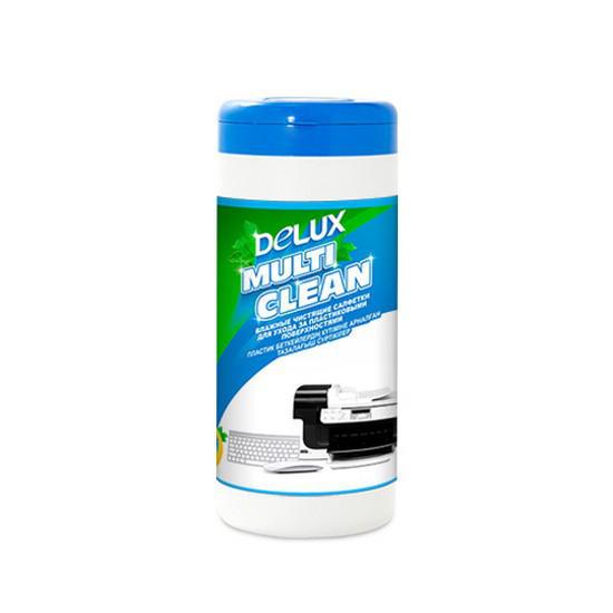 Чистящие салфетки Delux Multi Clean 100 Для ухода за пластиковыми поверхностями 100 шт Большая туба