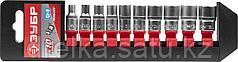 """Набор ЗУБР """"МАСТЕР"""": Торцовые головки (1/4"""") на пластиковом рельсе, Cr-V, 4-13мм, 10 предметов"""