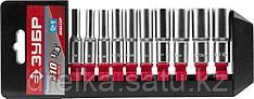"""Набор ЗУБР """"МАСТЕР"""": Торцовые головки (1/4"""") удлиненные на пластиковом рельсе, Cr-V, 4-13мм, 10 предметов"""