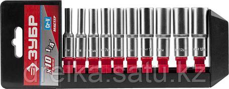 """Набор ЗУБР """"МАСТЕР"""": Торцовые головки (1/4"""") удлиненные на пластиковом рельсе, Cr-V, 4-13мм, 10 предметов , фото 2"""