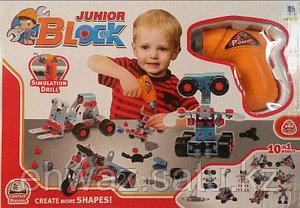 """Конструктор с шуруповертом """"Junior Block"""" , 10 видов транспорта, 286 деталей"""