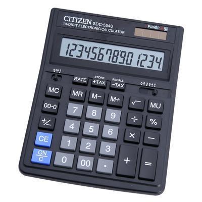 """Калькулятор настольный CITIZEN """"SDC-414"""" 14-разрядный черный"""
