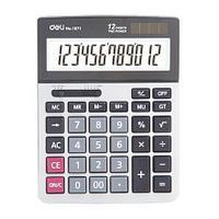 """Калькулятор настольный DELI """"1671"""" 12 разрядный серый"""