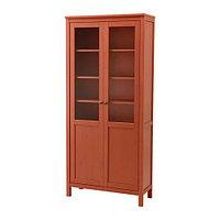 Шкаф с глух/стекл дверц ХЕМНЭС красно-коричневый ИКЕА, IKEA