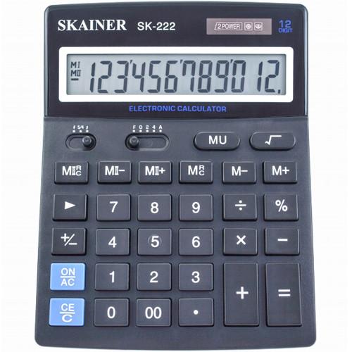 """Калькулятор настольный SKAINER """"222"""" 12 разрядный черный"""