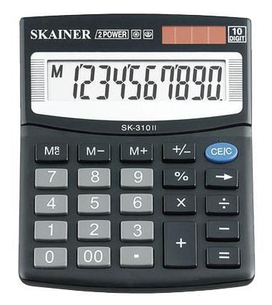 """Калькулятор настольный SKAINER """"310II"""" 10 разрядный черный"""