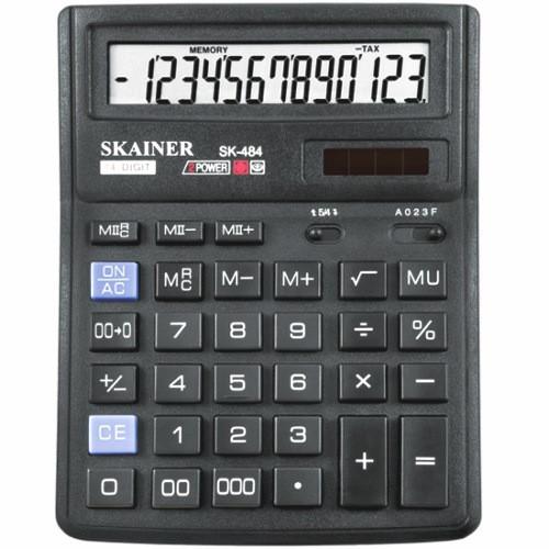 """Калькулятор настольный SKAINER """"484II"""" 14 разрядный черный"""