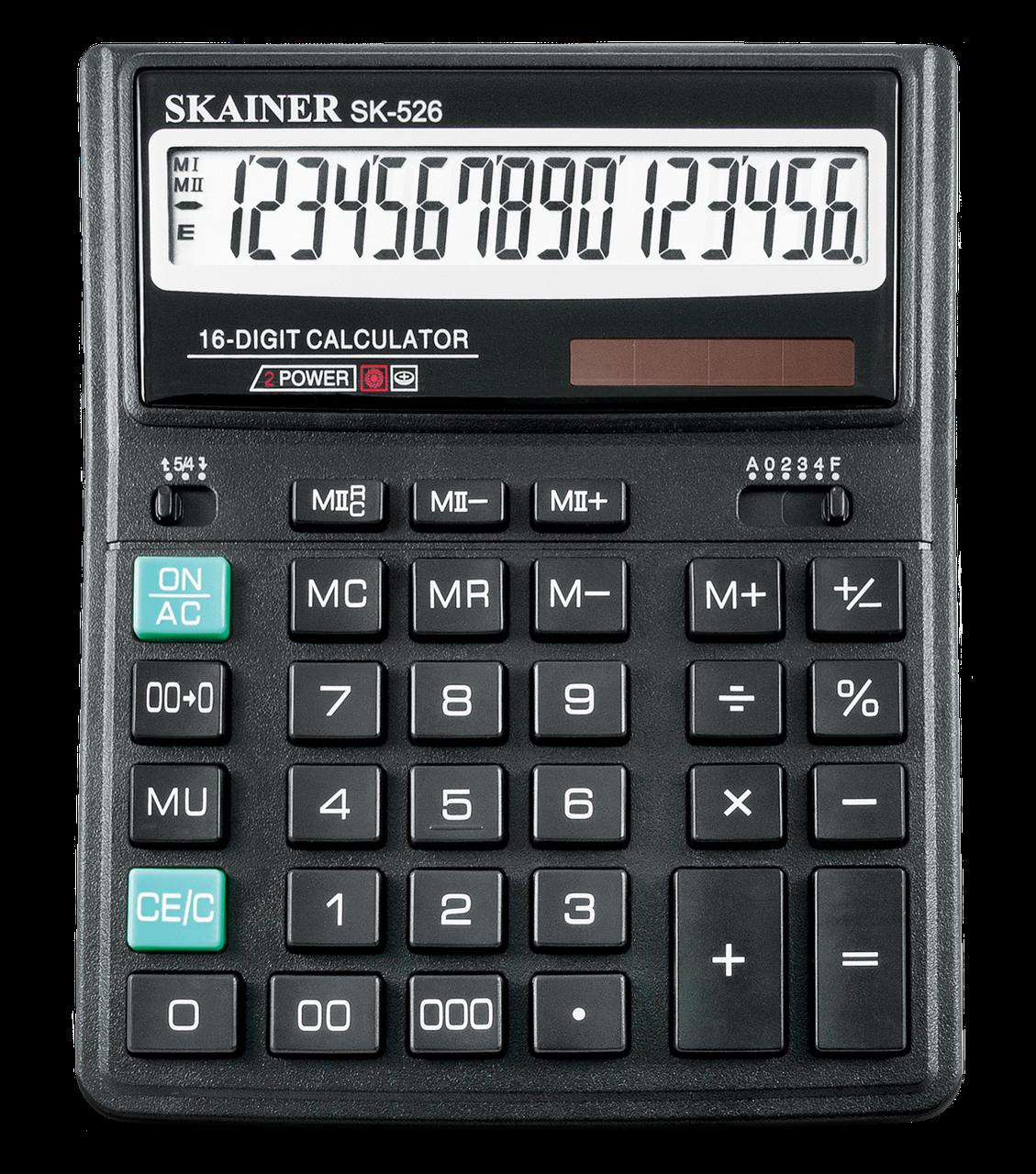 """Калькулятор настольный SKAINER """"526II"""" 16 разрядный черный"""