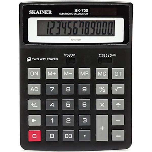 """Калькулятор настольный SKAINER """"700L"""" 12 разрядный черный"""