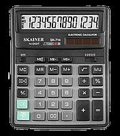 """Калькулятор настольный SKAINER """"714II"""" 14 разрядный черный"""