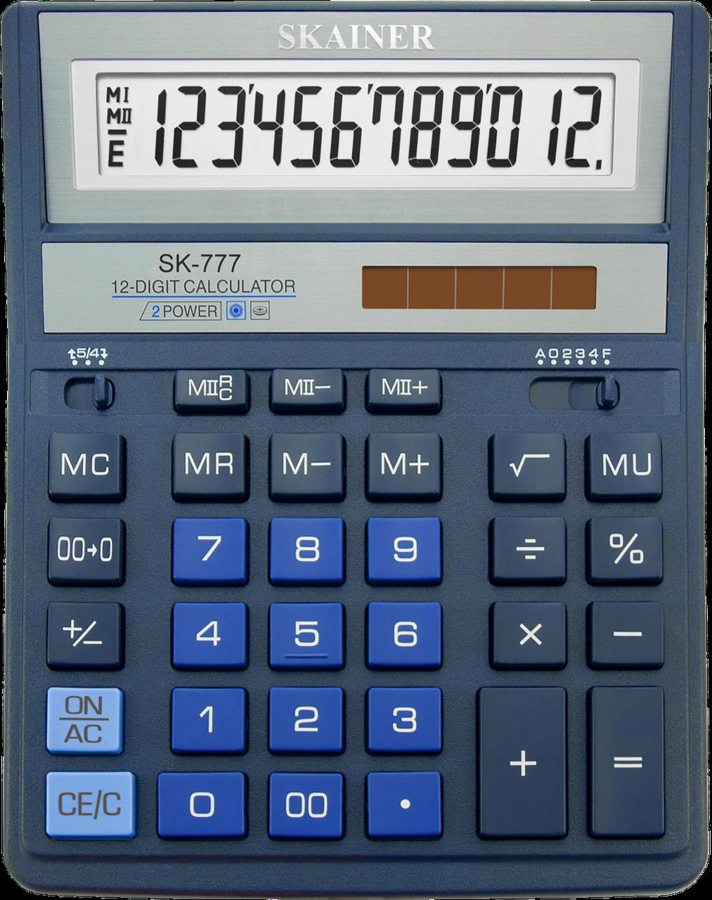 """Калькулятор настольный SKAINER """"777XBL"""" 12 разрядный синий"""