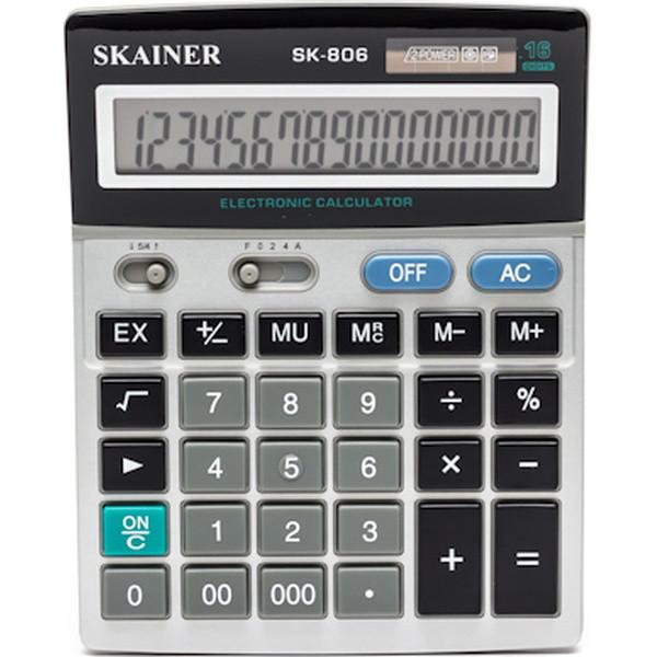 "Калькулятор настольный SKAINER ""806ML"" 16 разрядный серый"