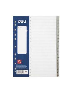 Разделитель пластиковый DELI, A-Z, А4, 20 листов, серый