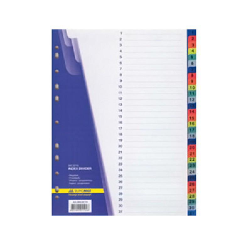 Разделитель пластиковый DELI, А4, 10 листов, цветной
