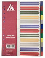 Разделитель пластиковый БЮРОКРАТ, А4, 12 листов, цветной