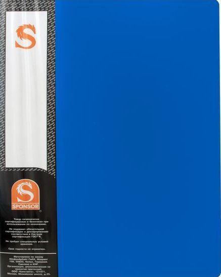 Папка с файлами SPONSOR на 10 вкладышей, синяя
