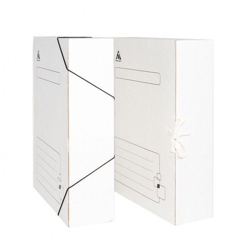 Архивный короб SPONSOR на завязках, 240x75x305 мм, микрогофрокартон, белый