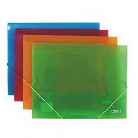 Папка на резинках DELI, A4 полупрозрачная, зеленая