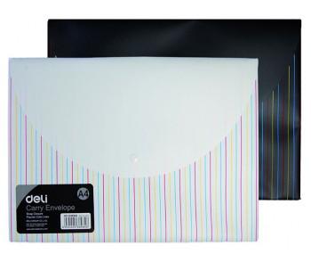 """Папка-конверт на кнопке DELI """"Deco"""", А4, 0,18 мм, чёрно-белый"""