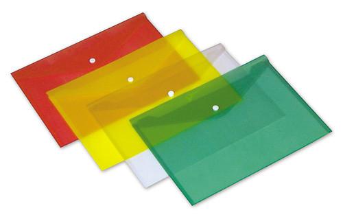 Папка-конверт на кнопке БЮРОКРАТ, А4, 0,15 мм, прозрачная