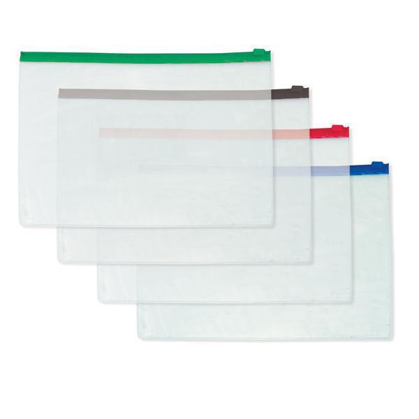 Папка-конверт на молнии INDEX, А4, 0,16 мм, зеленая