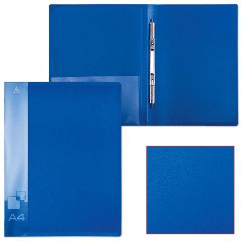 Папка-скоросшиватель с пружинным механизмом БЮРОКРАТ, А4 , внутренний карман, синяя