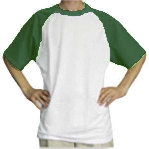 Футболка унисекс белая с зелеными  рукавами. (размеры S/M/L/XL/2XL)