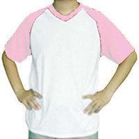 Футболка унисекс белая с розовыми рукавами. (размеры S/M/L/XL/2XL)