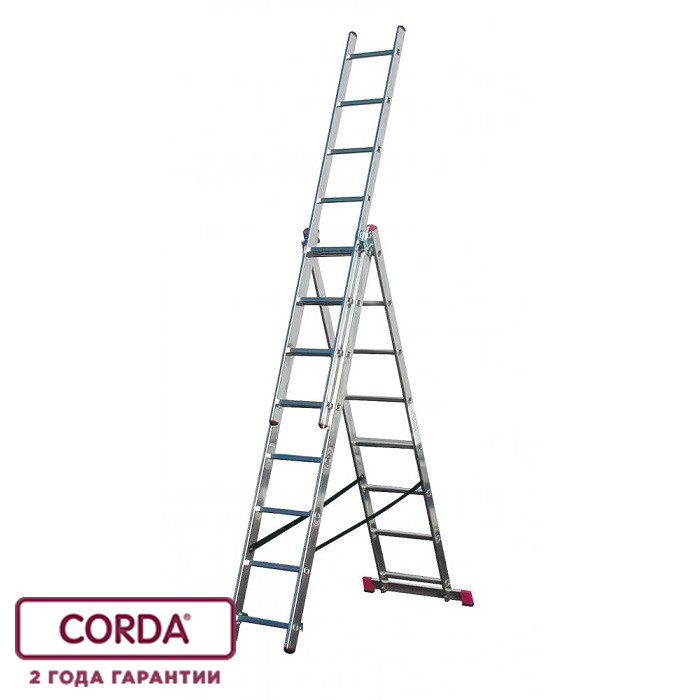 Лестница алюминиевая трехсекционная, 3х9 пер. KRAUSE CORDA