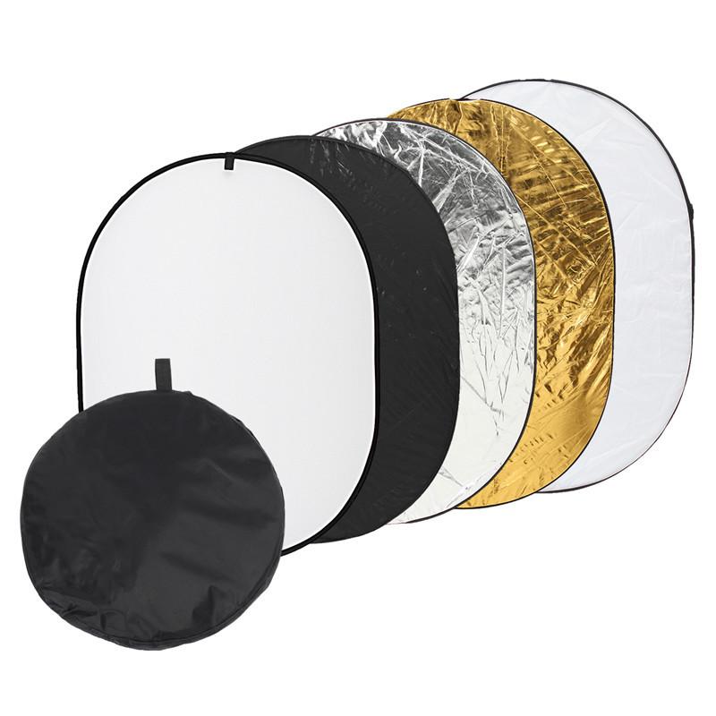 Фото отражатель 90 × 120 см 5 в 1 - золото, серебро, белый, чёрный, рассеиватель