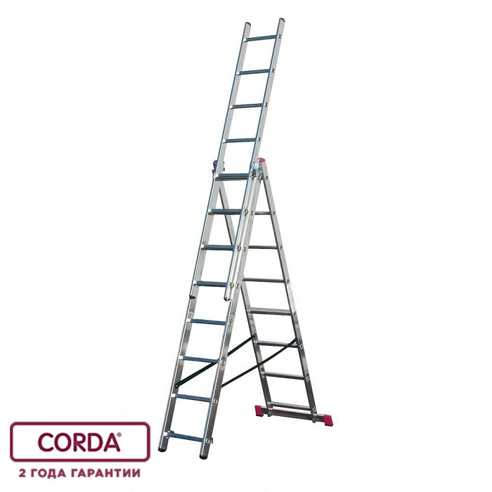 Лестница алюминиевая трехсекционная, 3х10 пер. KRAUSE CORDA