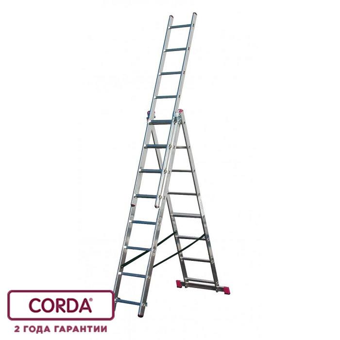 Лестница алюминиевая трехсекционная, 3х14 пер. KRAUSE CORDA