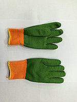 Перчатки х/б, с латексным обливом оранжево-зеленые