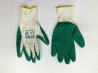 Перчатки х/б, с латексным обливом зеленые